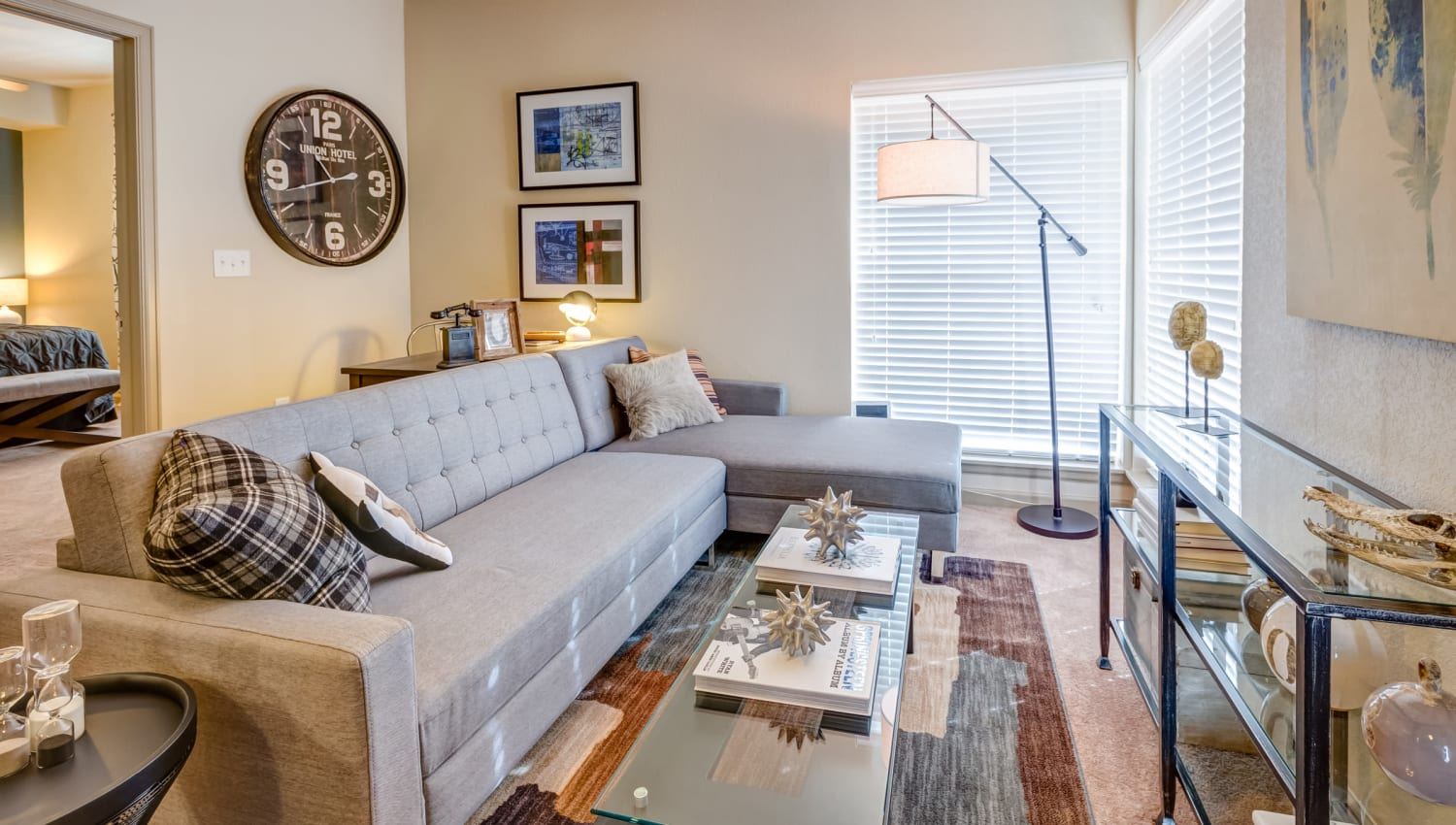 Comfortably decorated living area in a model home at Granite 550 in Casper, Wyoming
