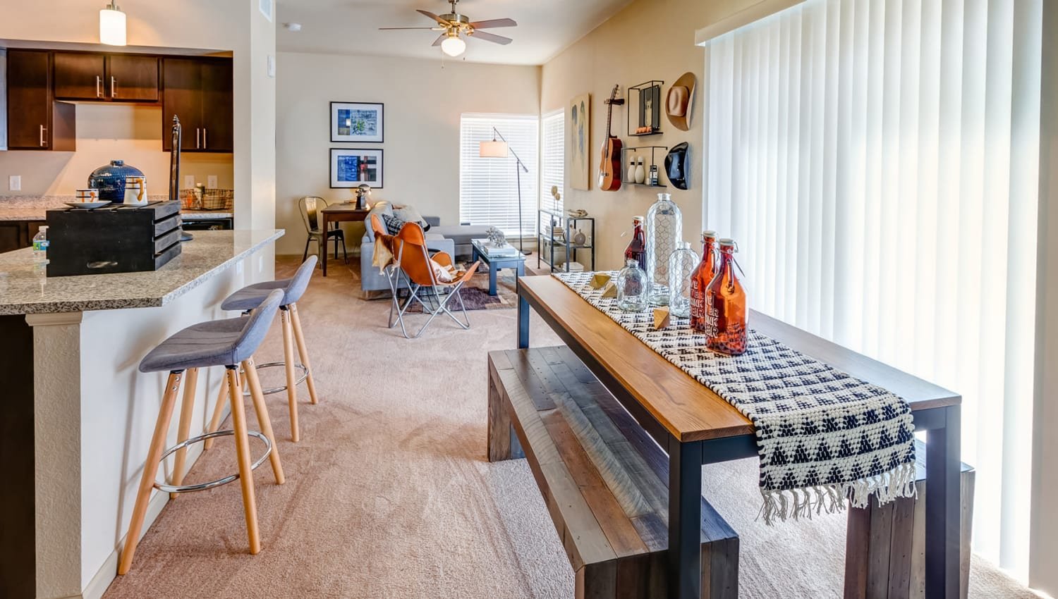 Plush carpeting in the living areas of a model apartment at Granite 550 in Casper, Wyoming
