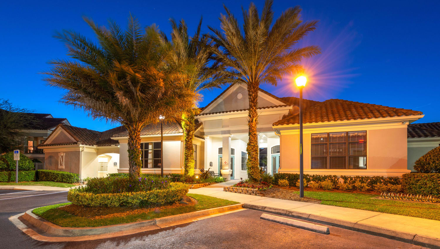 Early morning outside the leasing center at Mirador & Stovall at River City in Jacksonville, Florida