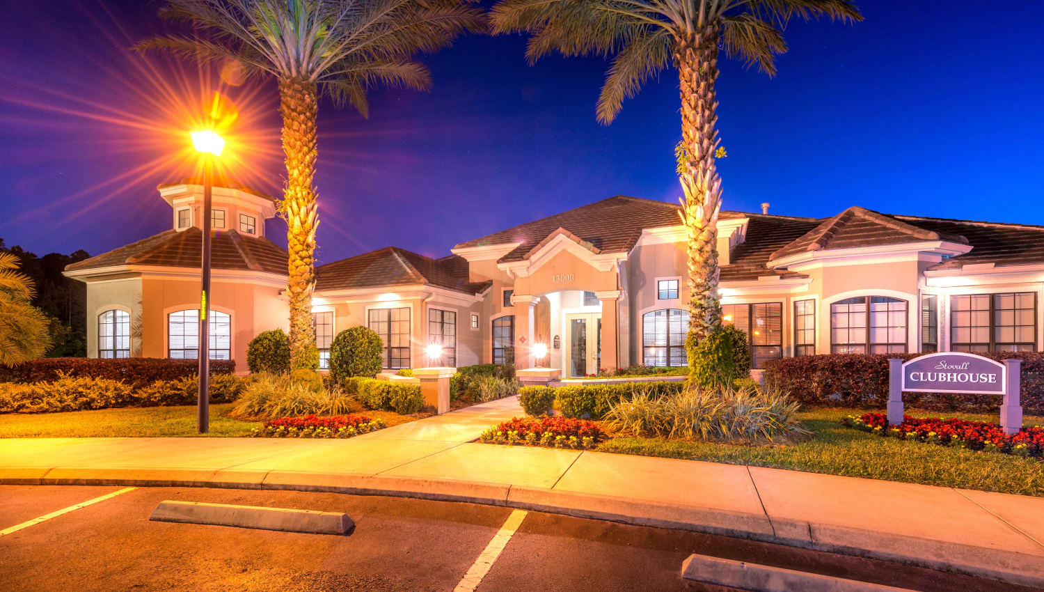 Just before sunrise outside the clubhouse at Mirador & Stovall at River City in Jacksonville, Florida