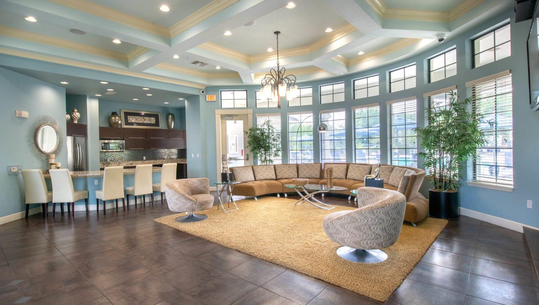 Bright and welcoming lobby interior at Mirador & Stovall at River City in Jacksonville, Florida