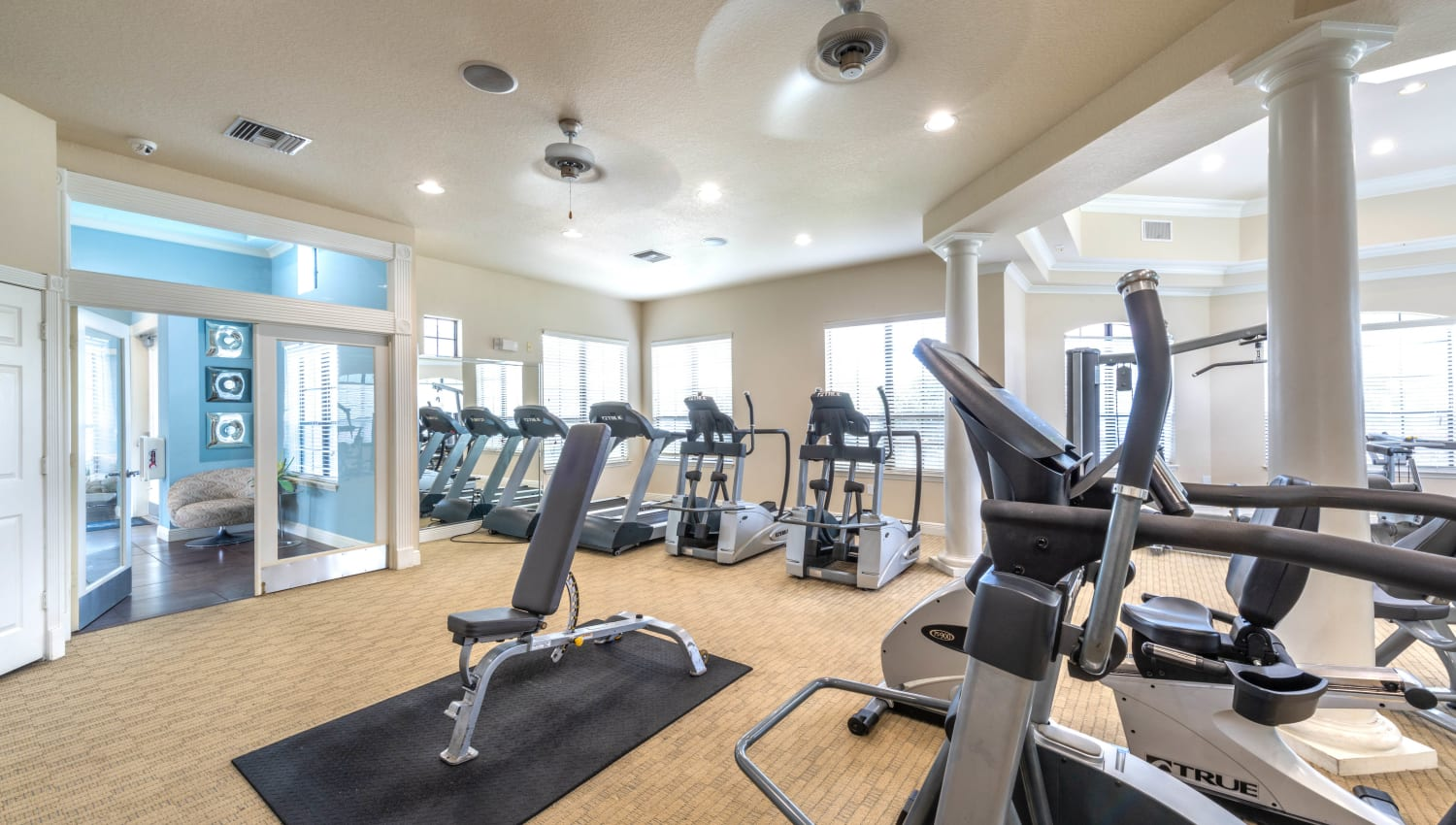 Plenty of equipment for everyone in the fitness center at Mirador & Stovall at River City in Jacksonville, Florida