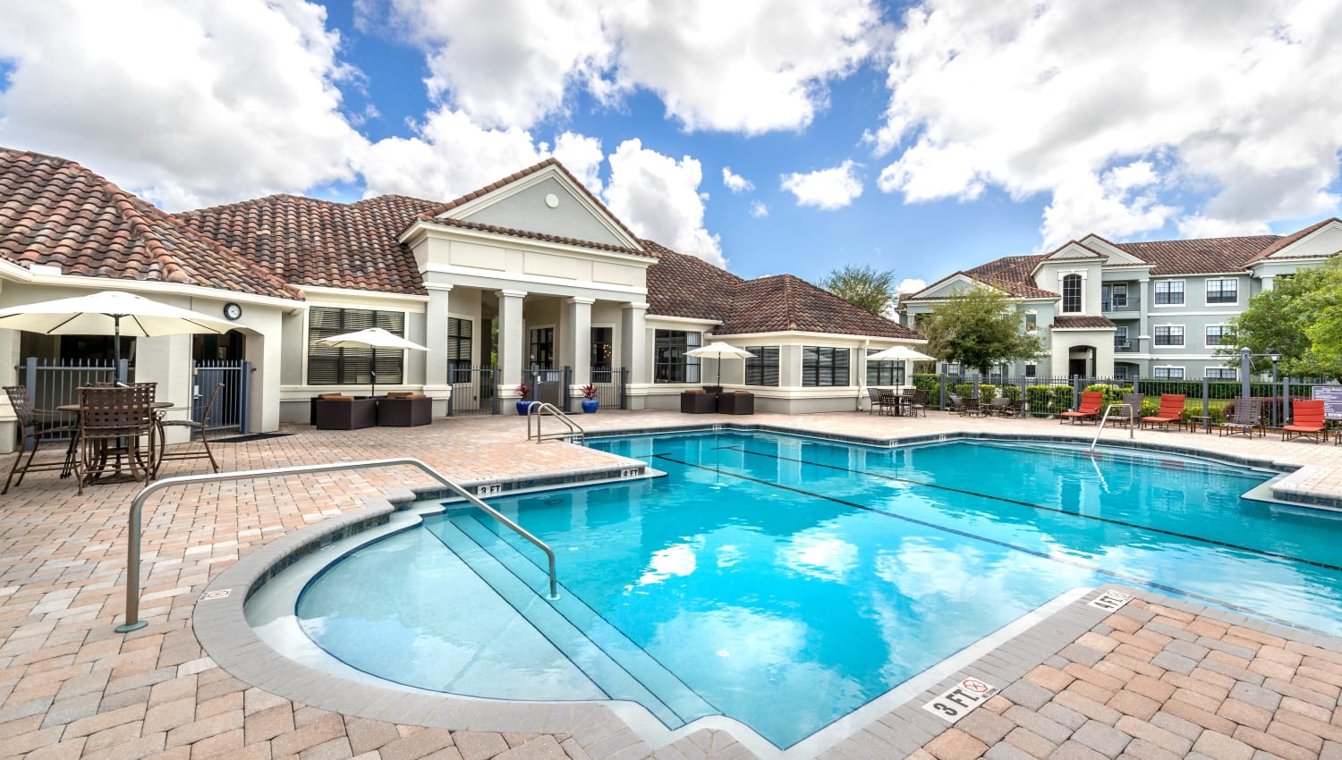 Resort-style swimming pool at Mirador & Stovall at River City in Jacksonville, Florida