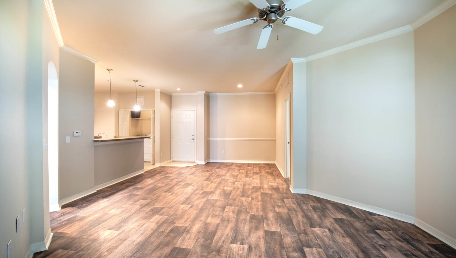 Ceiling fan in the living area of a model home at Mirador & Stovall at River City in Jacksonville, Florida