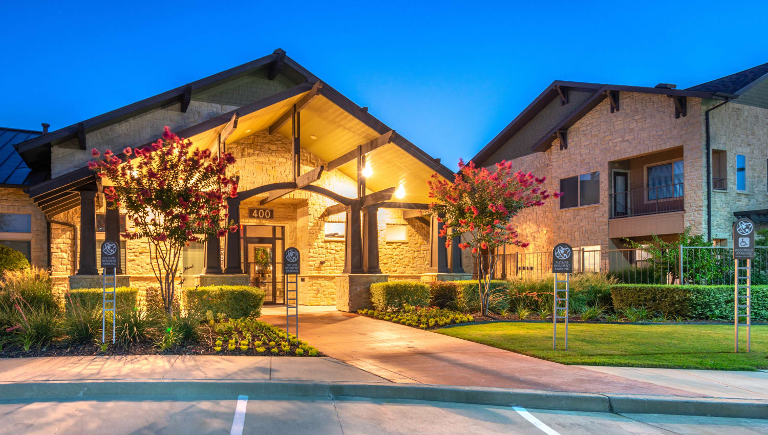 Early evening outside the clubhouse at Olympus Waterford in Keller, Texas