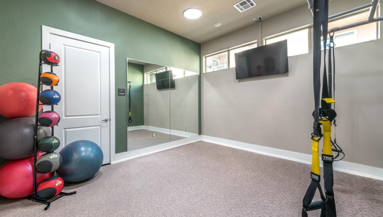 Yoga room at Olympus Waterford in Keller, Texas
