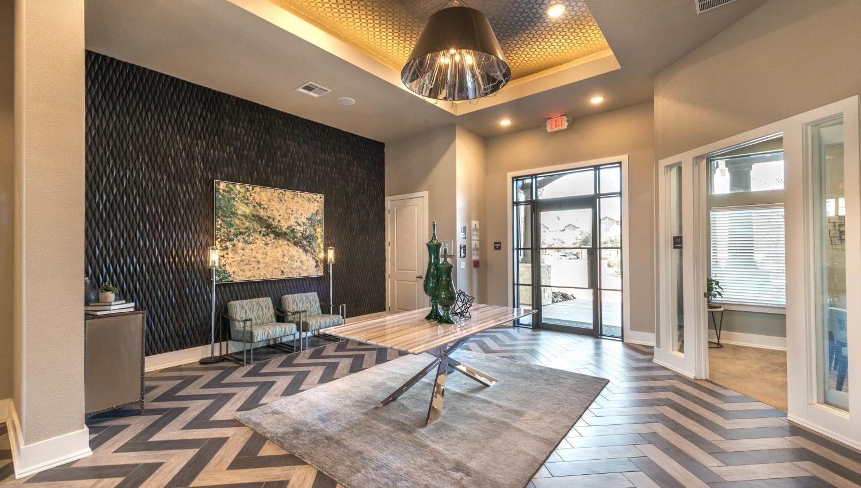 Welcoming lobby interior at Olympus Waterford in Keller, Texas