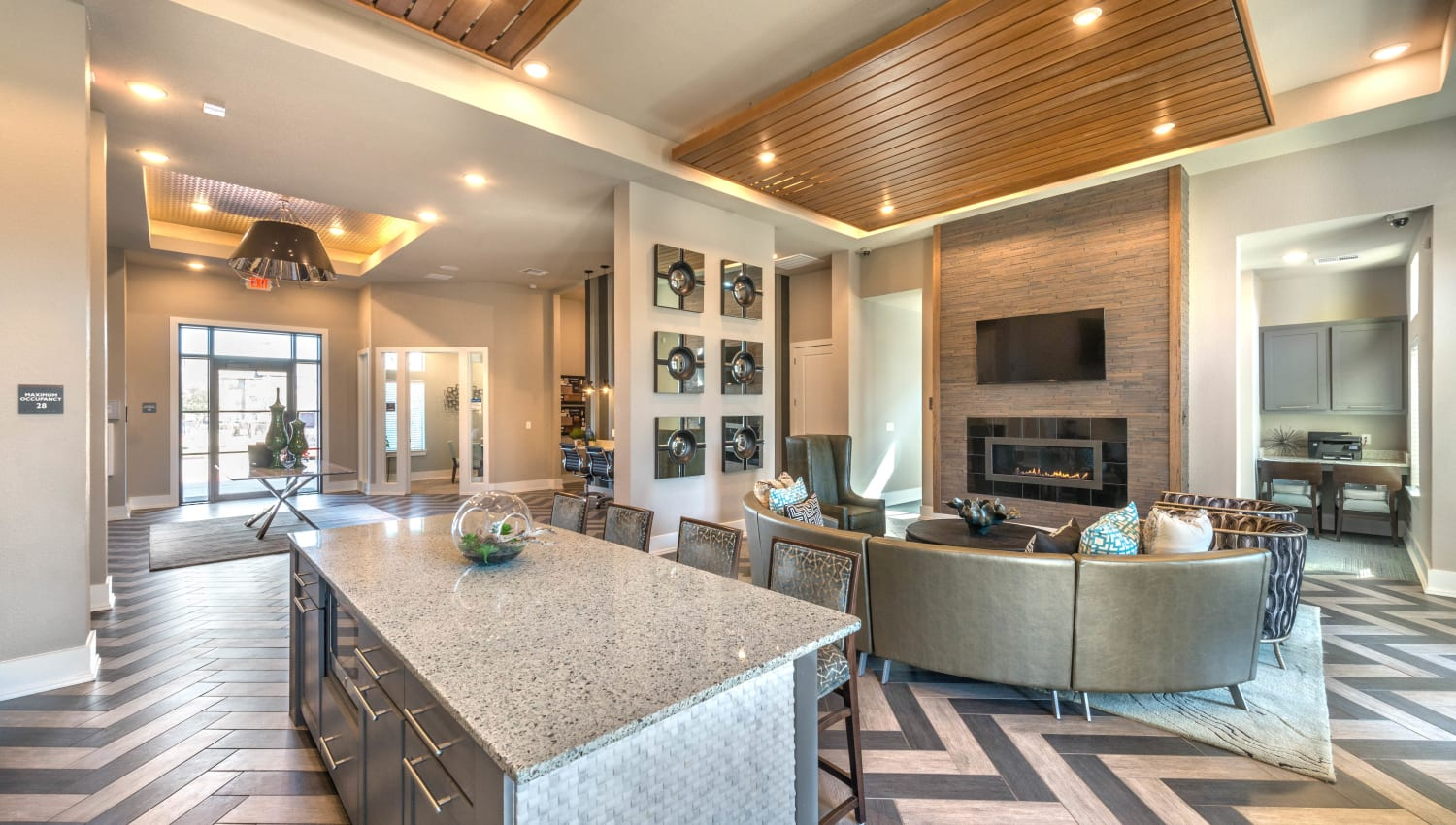 Luxuriously furnished resident clubhouse at Olympus Waterford in Keller, Texas