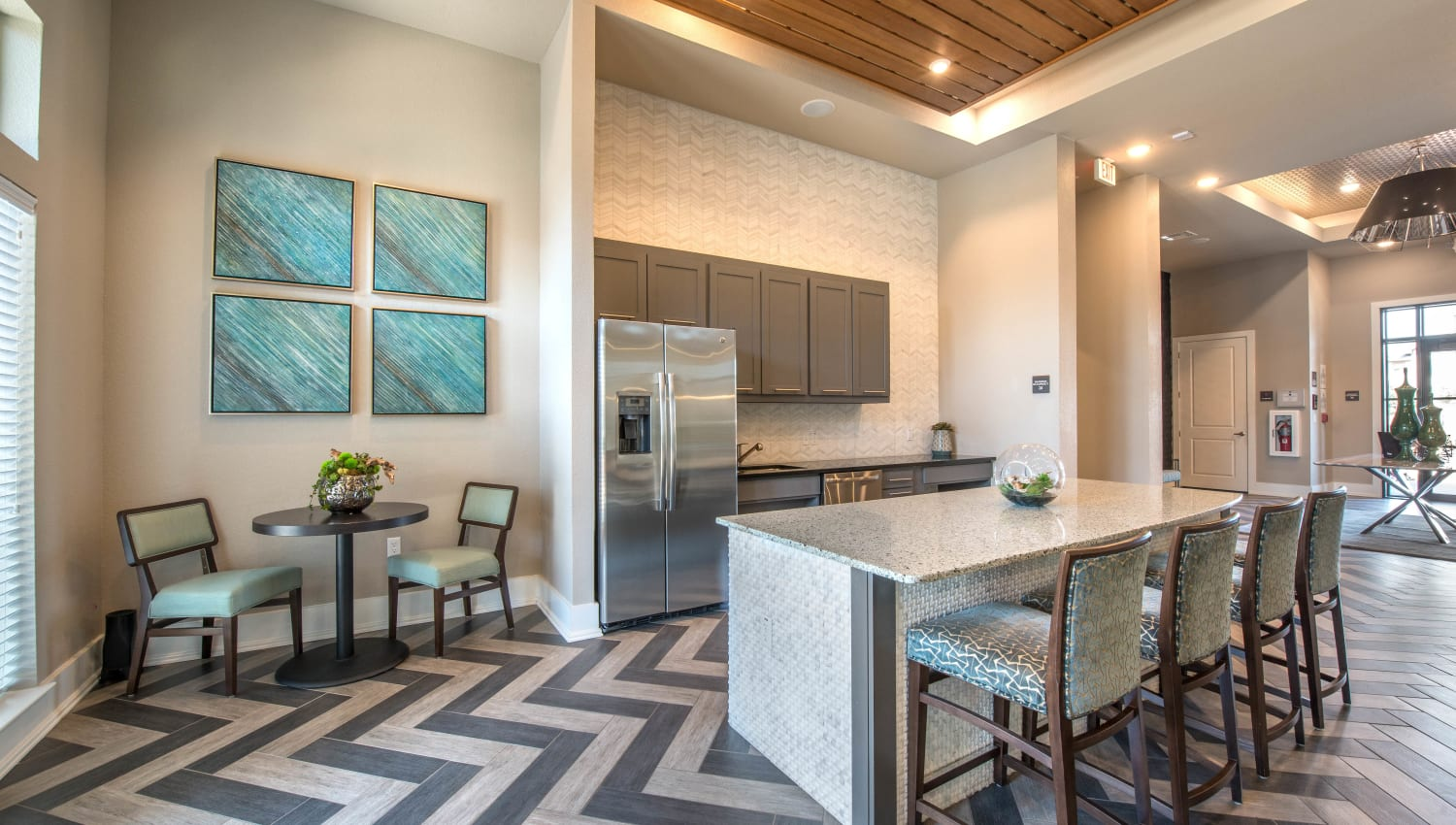 Demonstration kitchen for resident use in the clubhouse at Olympus Waterford in Keller, Texas