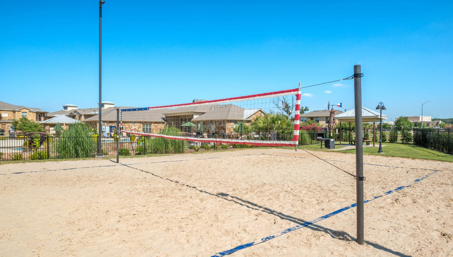 Sand volleyball courts at Olympus Willow Park in Willow Park, Texas