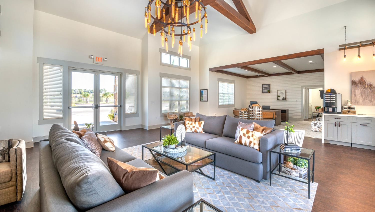 Well-furnished and luxurious resident clubhouse at Olympus Willow Park in Willow Park, Texas
