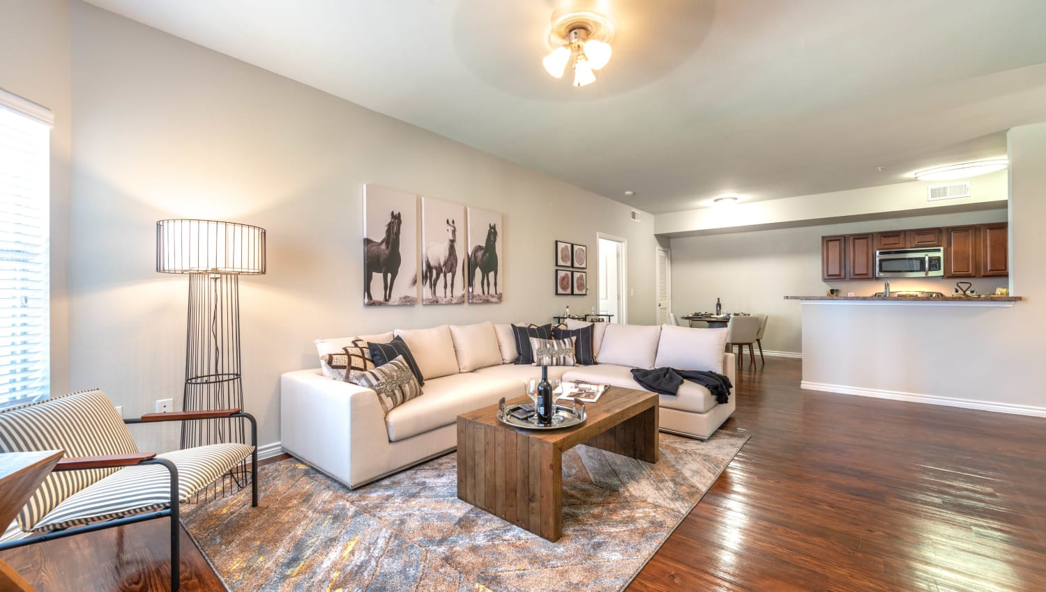 Ceiling fan and modern furnishings in the living area of a model home at Olympus Willow Park in Willow Park, Texas