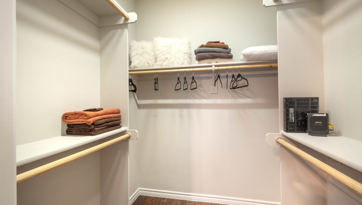 Spacious walk-in closet in a model home at Olympus Willow Park in Willow Park, Texas