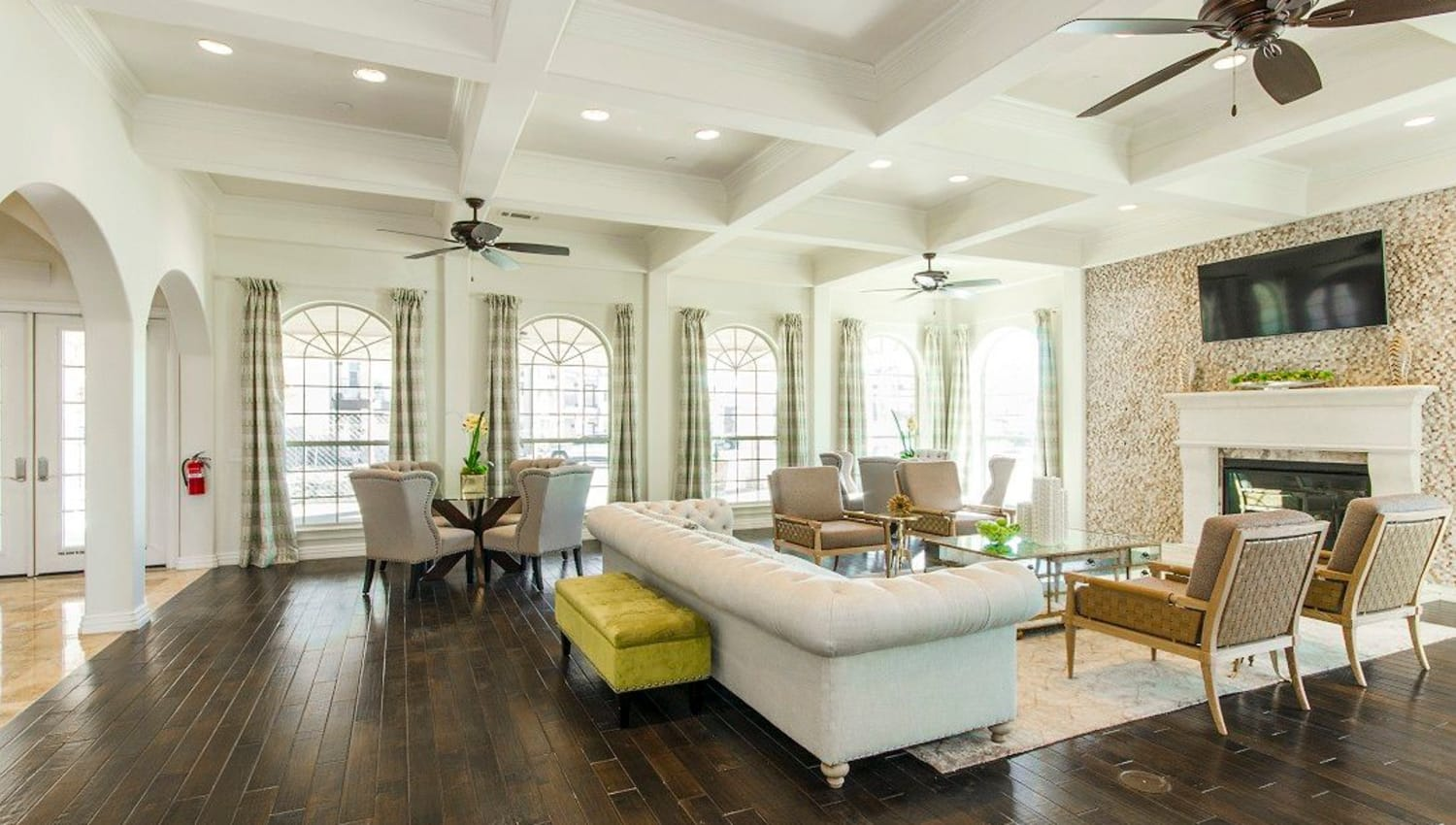 Classically designed clubhouse interior at Olympus Woodbridge in Sachse, Texas