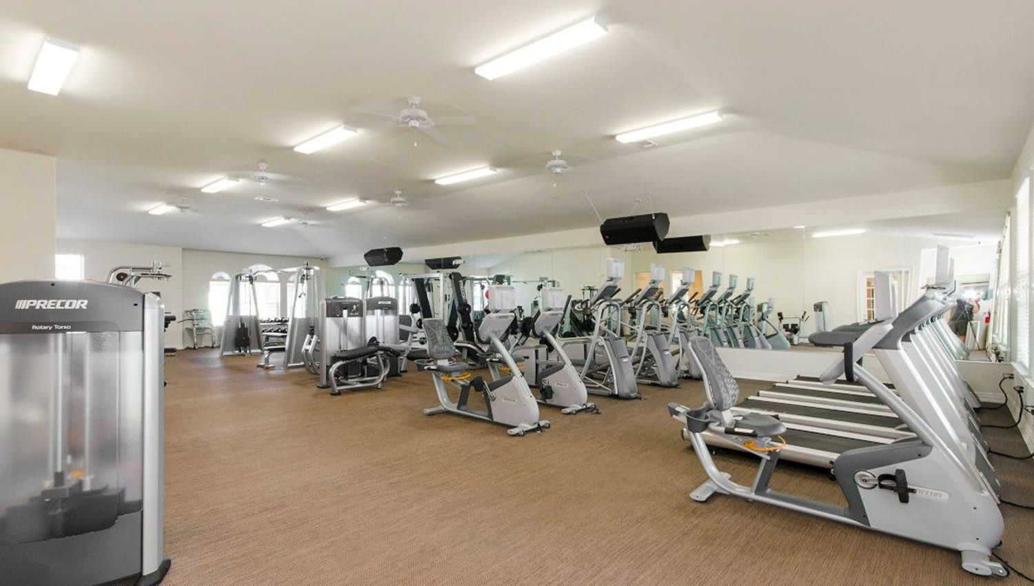 Spacious onsite fitness center at Olympus Woodbridge in Sachse, Texas
