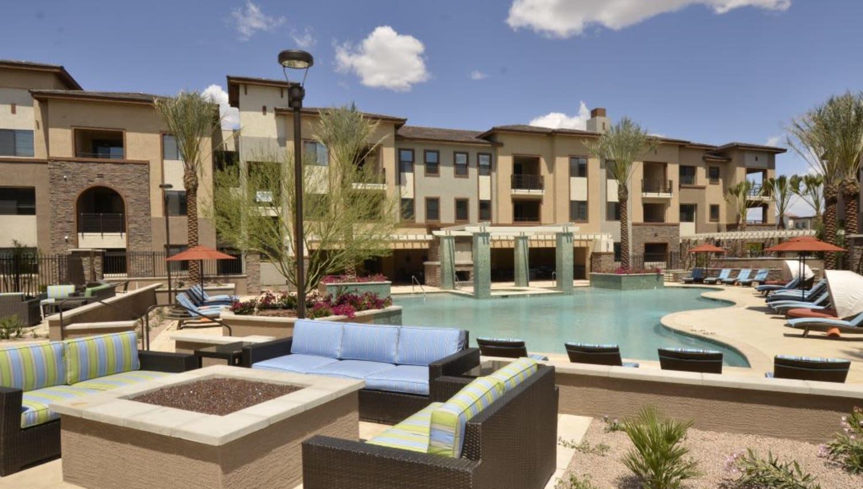 Swimming pool on a beautiful day at Redstone at SanTan Village in Gilbert, Arizona