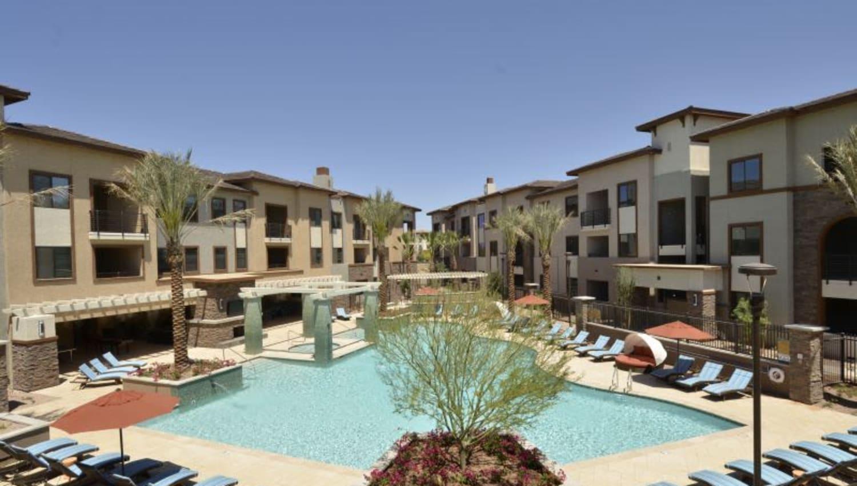 Resort-style swimming pool at Redstone at SanTan Village in Gilbert, Arizona