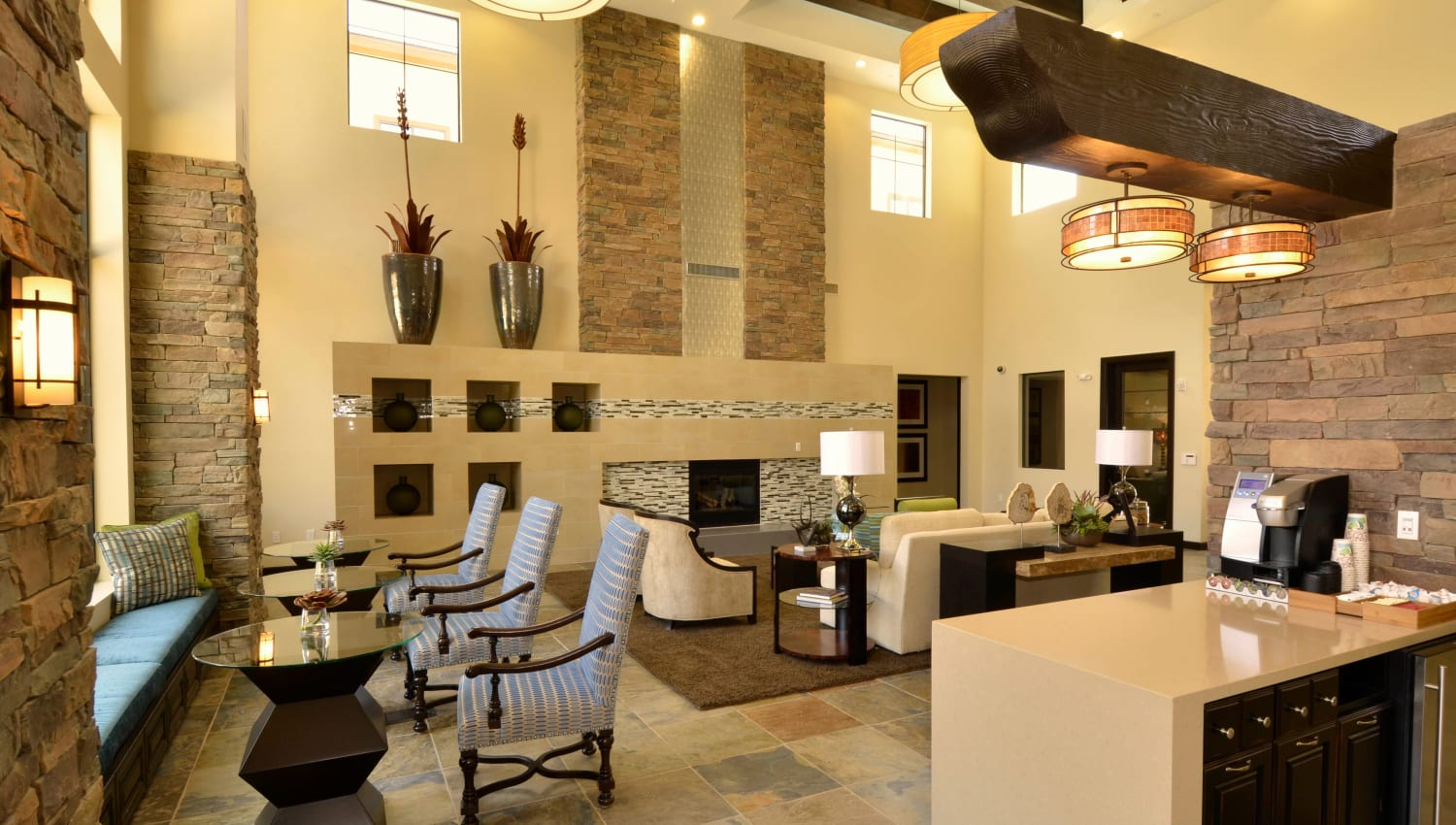 Well-decorated lobby at Redstone at SanTan Village in Gilbert, Arizona