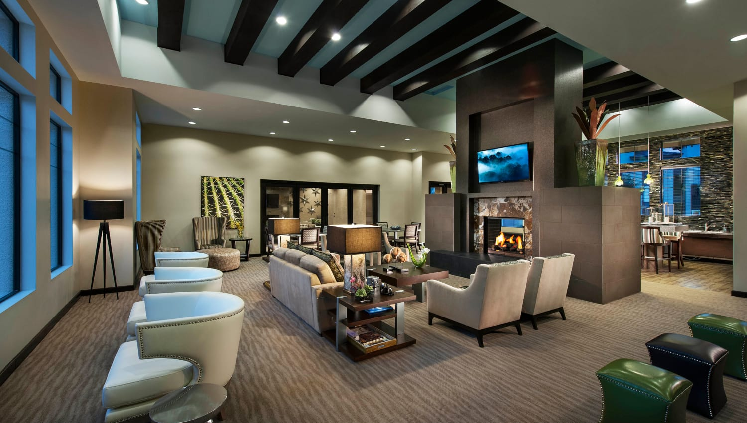 Clubhouse lounge at Redstone at SanTan Village in Gilbert, Arizona
