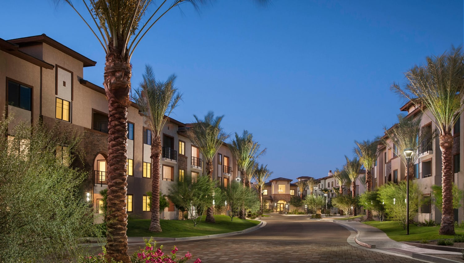 Palm trees and resident buildings at Redstone at SanTan Village in Gilbert, Arizona