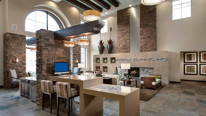 Luxurious lobby interior at Redstone at SanTan Village in Gilbert, Arizona