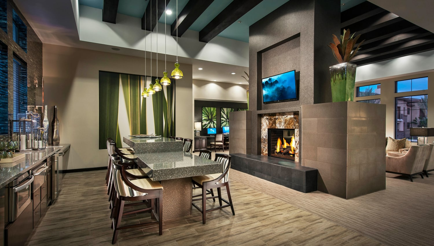 Plenty of room to get together with friends and neighbors in the clubhouse at Redstone at SanTan Village in Gilbert, Arizona
