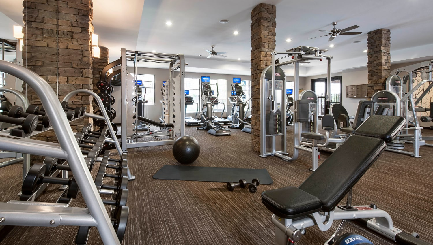 Fully equipped fitness center at Redstone at SanTan Village in Gilbert, Arizona