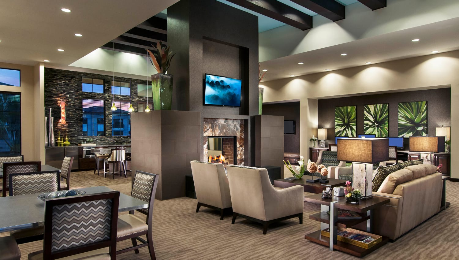 Lavishly furnished clubhouse lounge at Redstone at SanTan Village in Gilbert, Arizona