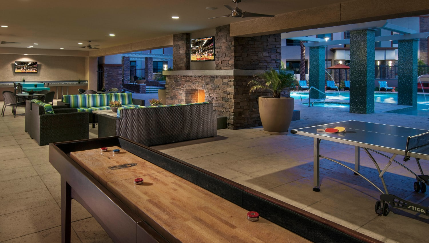 Tabletop shuffleboard in the game room at Redstone at SanTan Village in Gilbert, Arizona