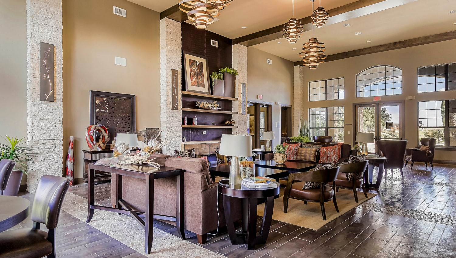 Lavishly furnished resident clubhouse at Sedona Ranch in Odessa, Texas