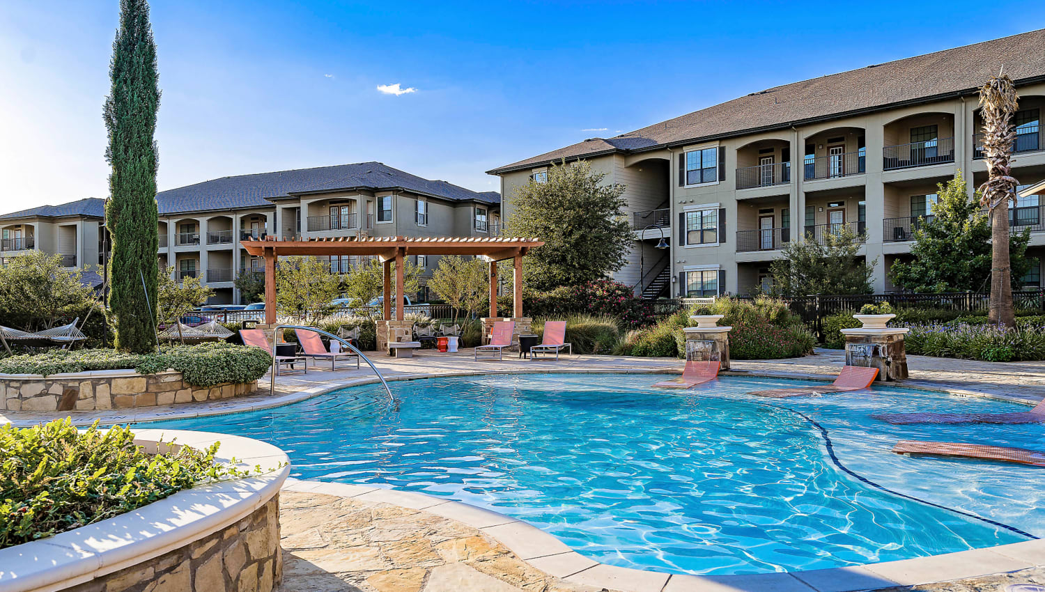Resort-style swimming pool on a beautiful morning at Sedona Ranch in Odessa, Texas