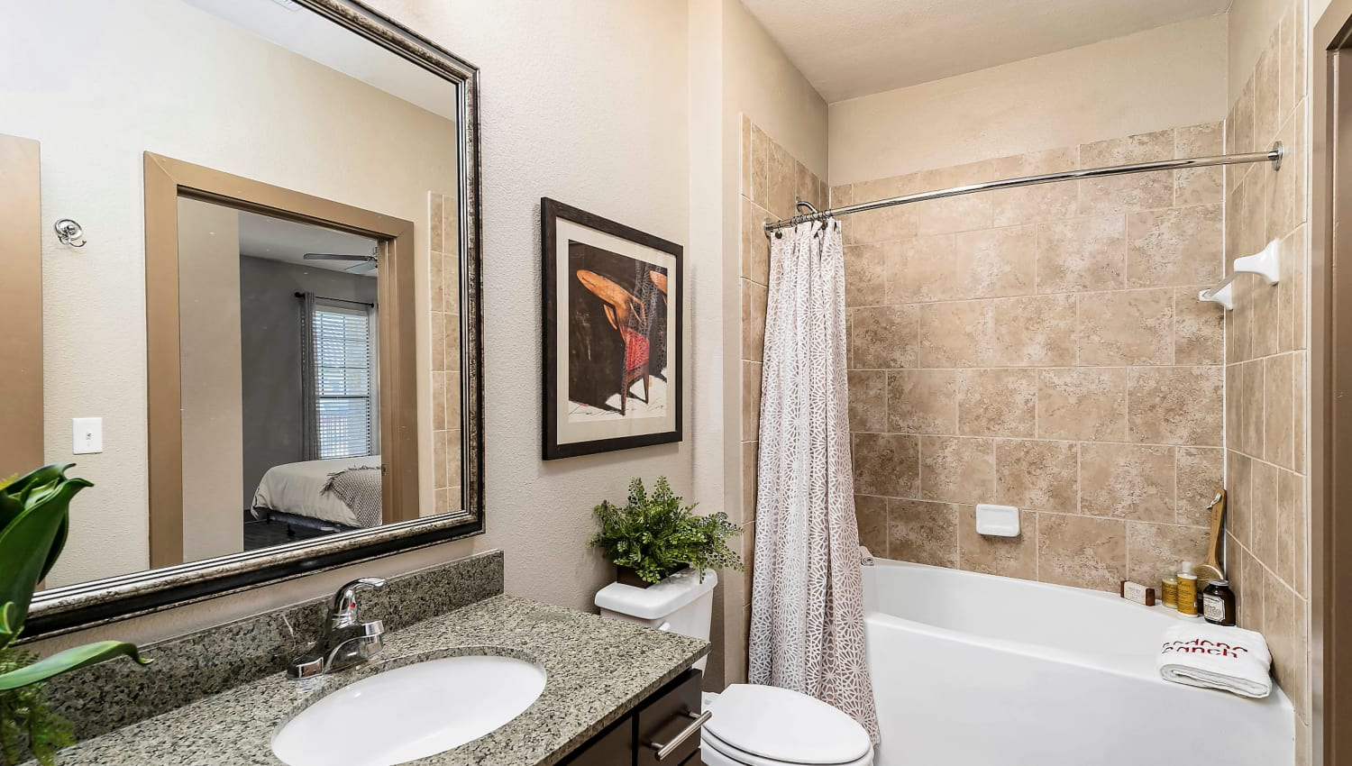 Granite countertop in the master bathroom of a model home at Sedona Ranch in Odessa, Texas