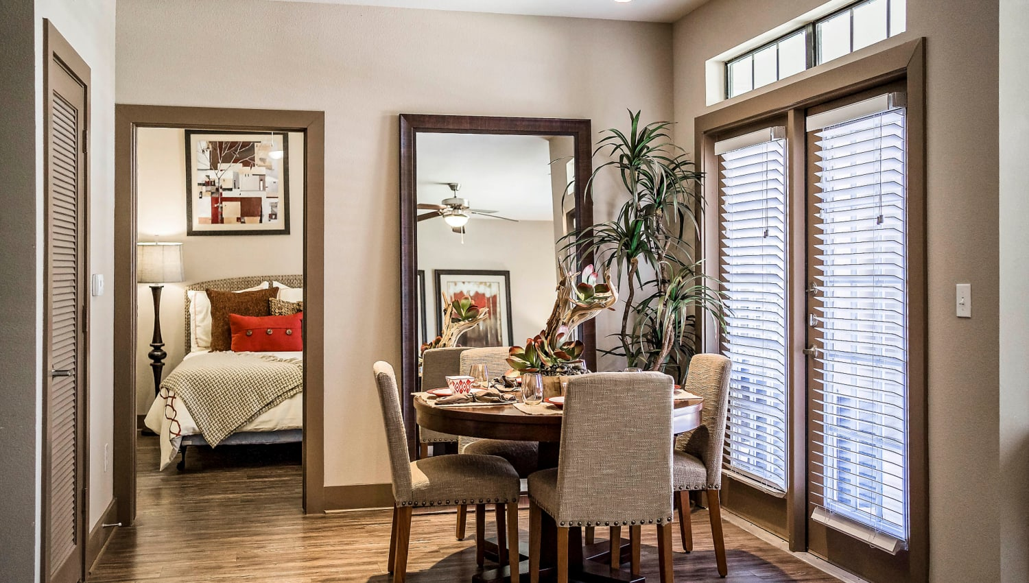 Dining area in a model apartment at Sedona Ranch in Odessa, Texas