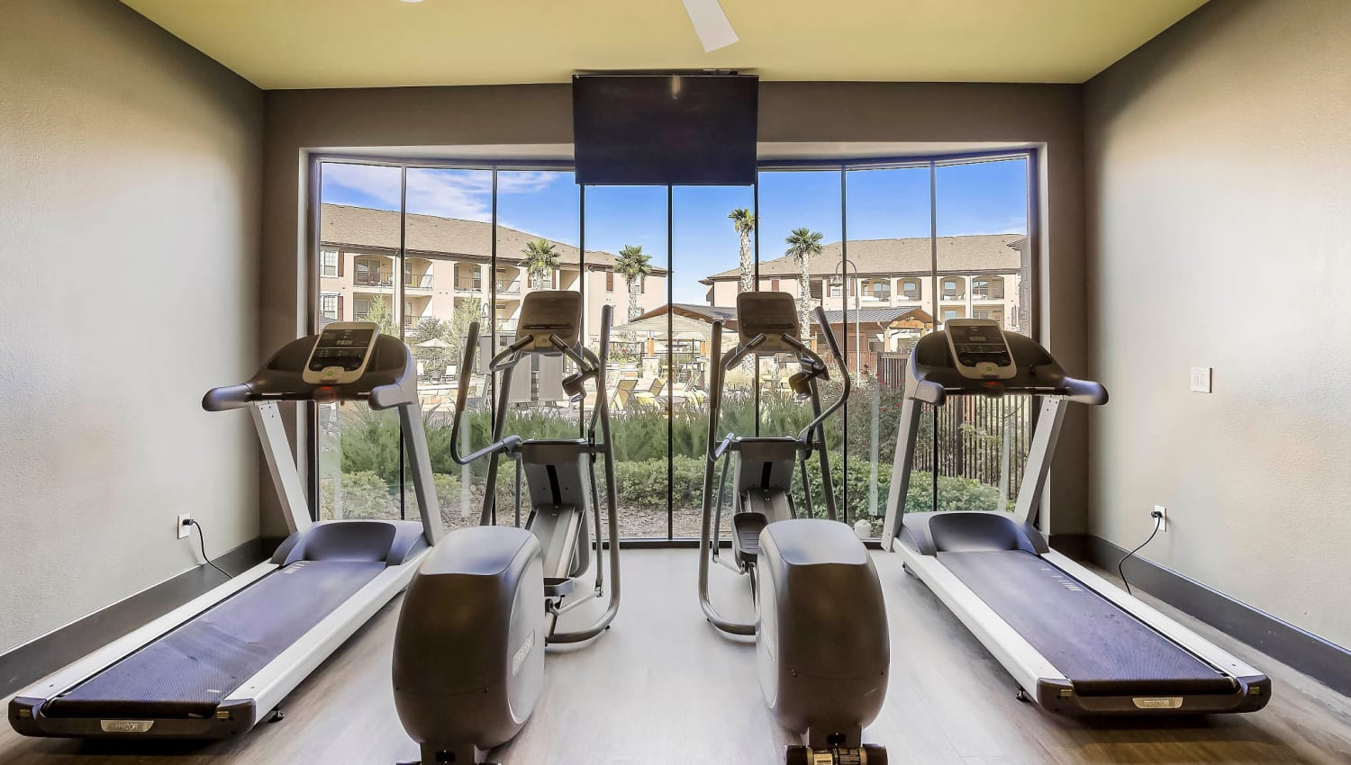 Treadmills and cardio machines in the fitness center at Sundance Creek in Midland, Texas