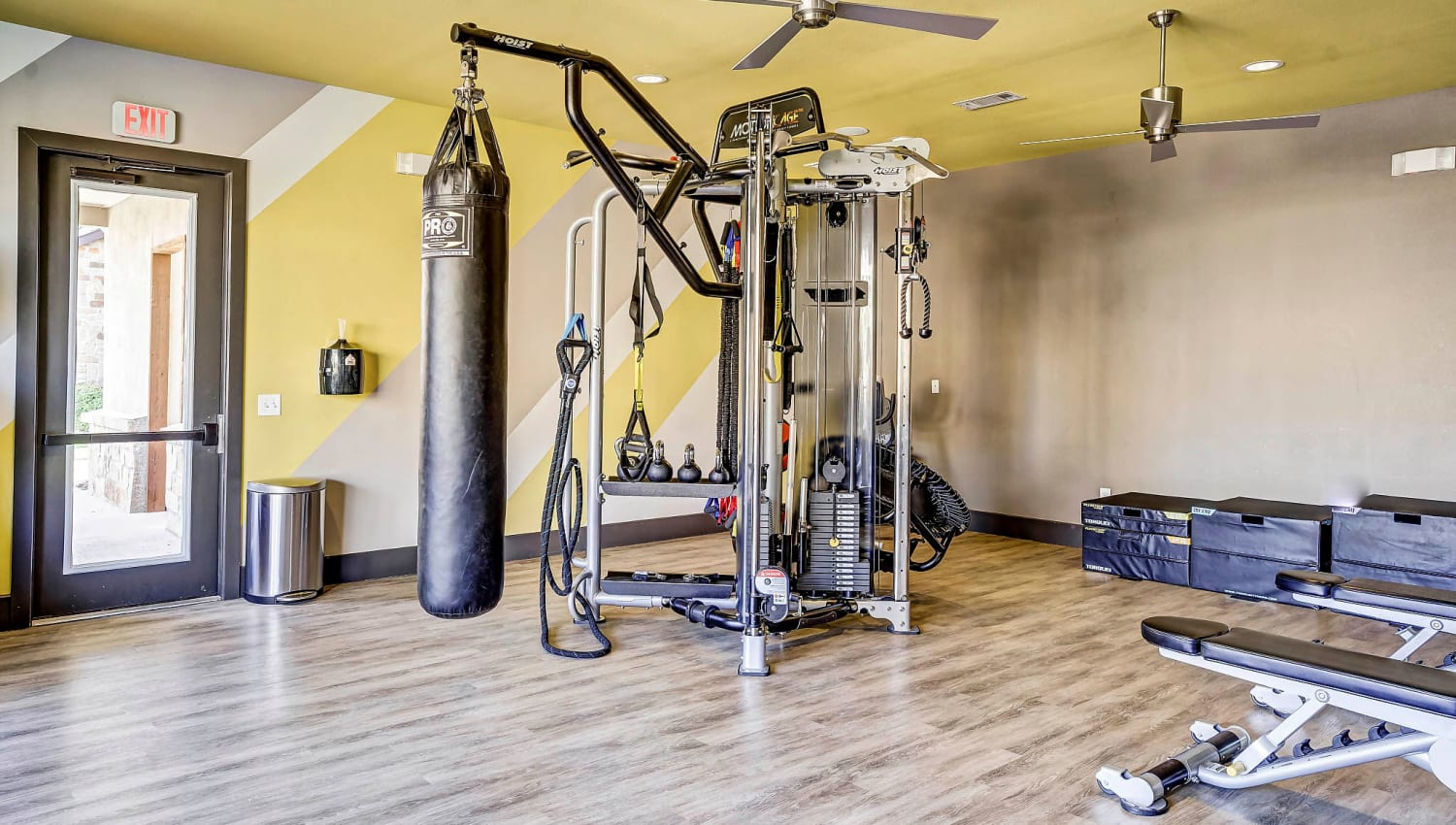 Heavy bag in the onsite fitness center at Sundance Creek in Midland, Texas