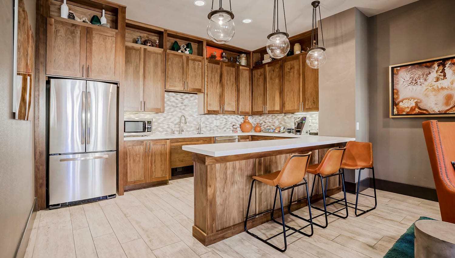 Demonstration kitchen in the clubhouse at Sundance Creek in Midland, Texas