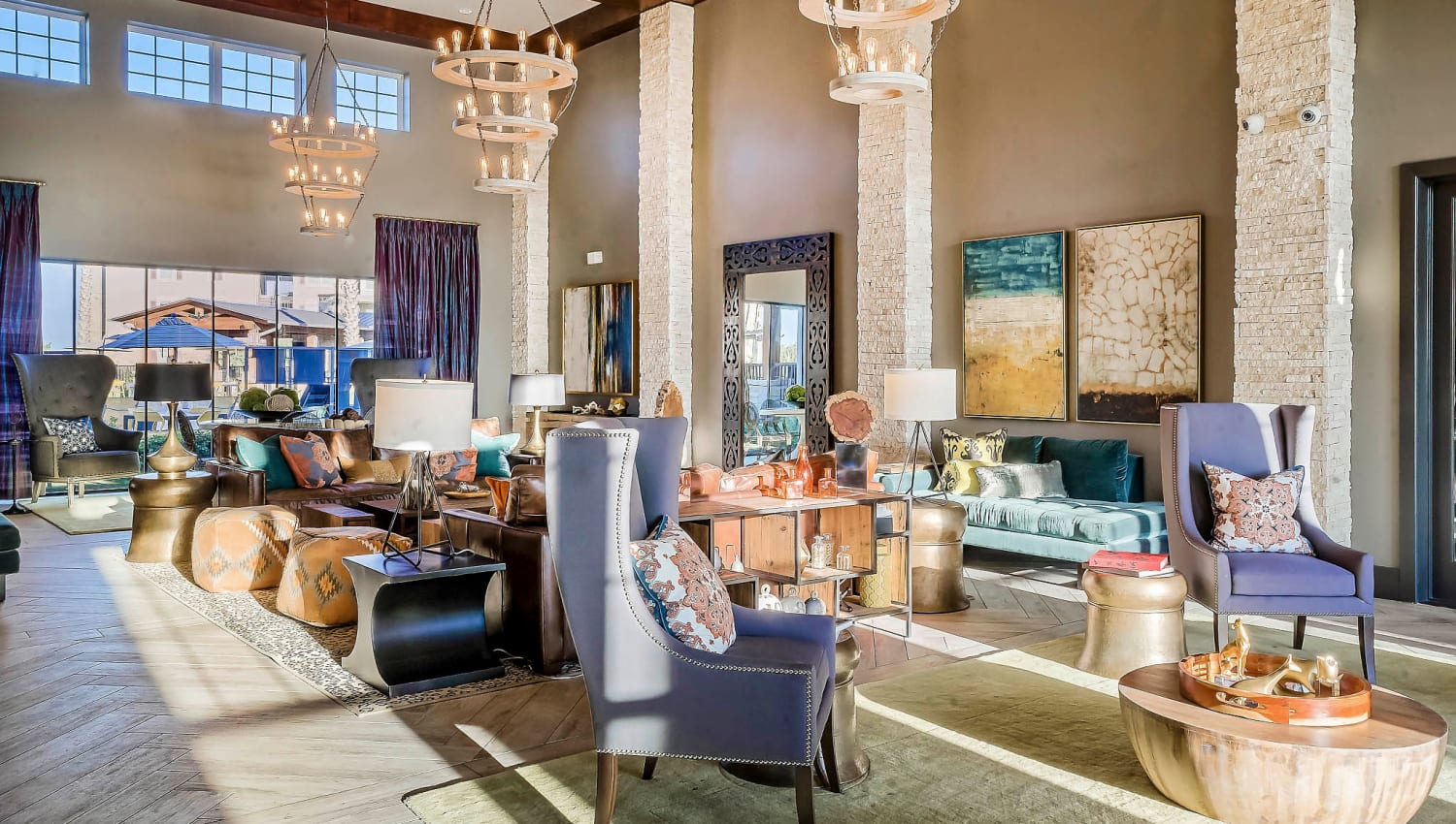 Lavishly decorated lobby interior at Sundance Creek in Midland, Texas
