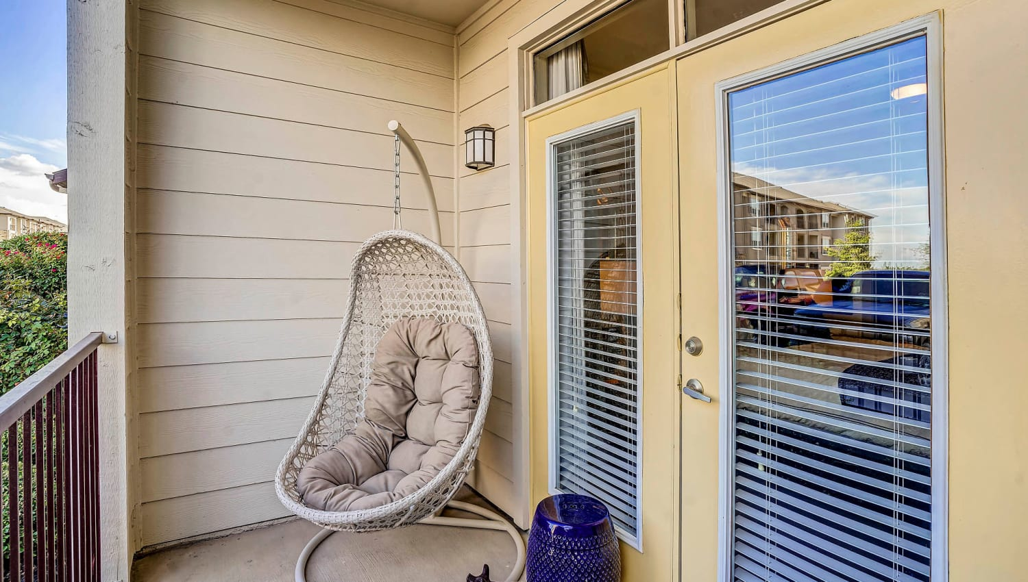 Private balcony outside a model home at Sundance Creek in Midland, Texas