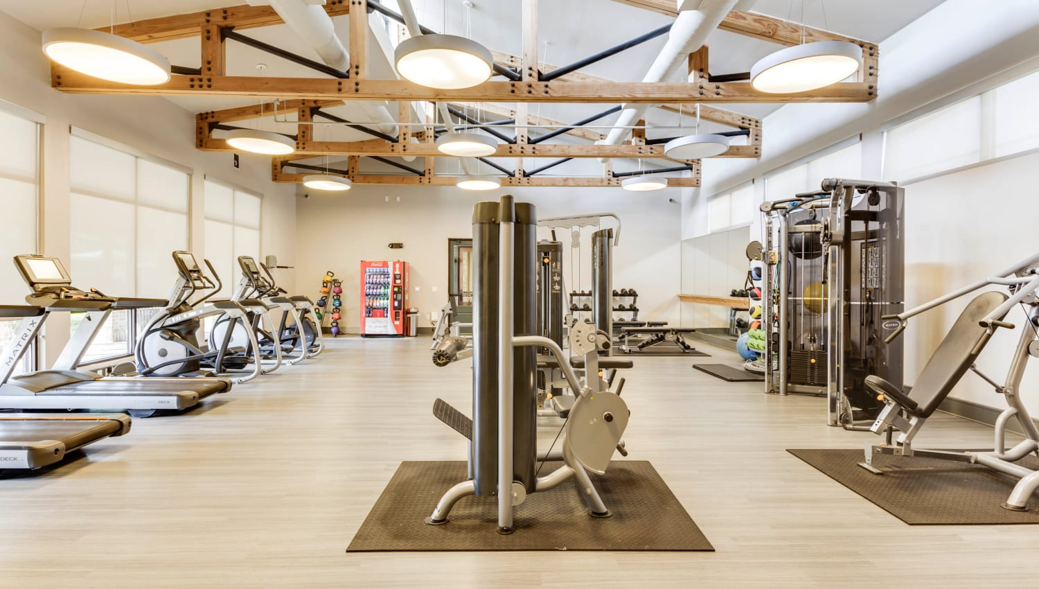 Spacious fitness center at Tacara at Westover Hills in San Antonio, Texas