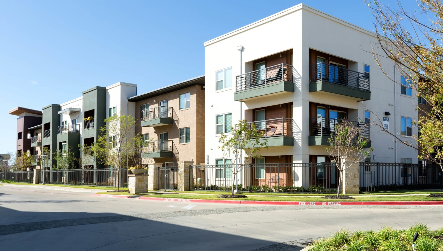 Exterior view of resident buildings at our luxury community at The Davis in Fort Worth, Texas