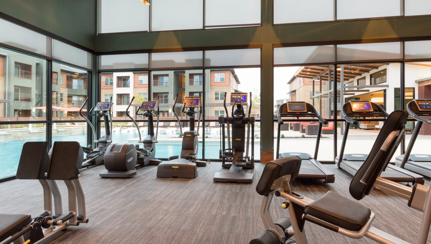 Very well-equipped onsite fitness center at The Davis in Fort Worth, Texas