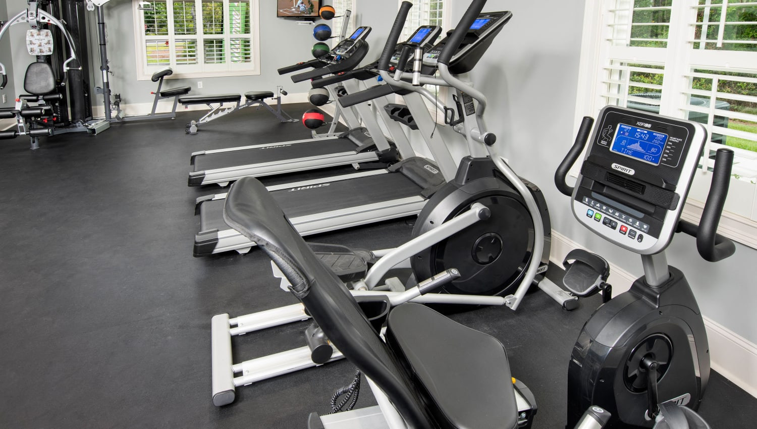 Wide variety of exercise equipment in the fitness center at The Enclave in Brunswick, Georgia