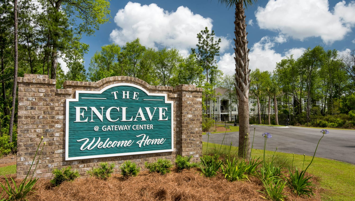 Our sign welcoming residents and their guests to The Enclave in Brunswick, Georgia