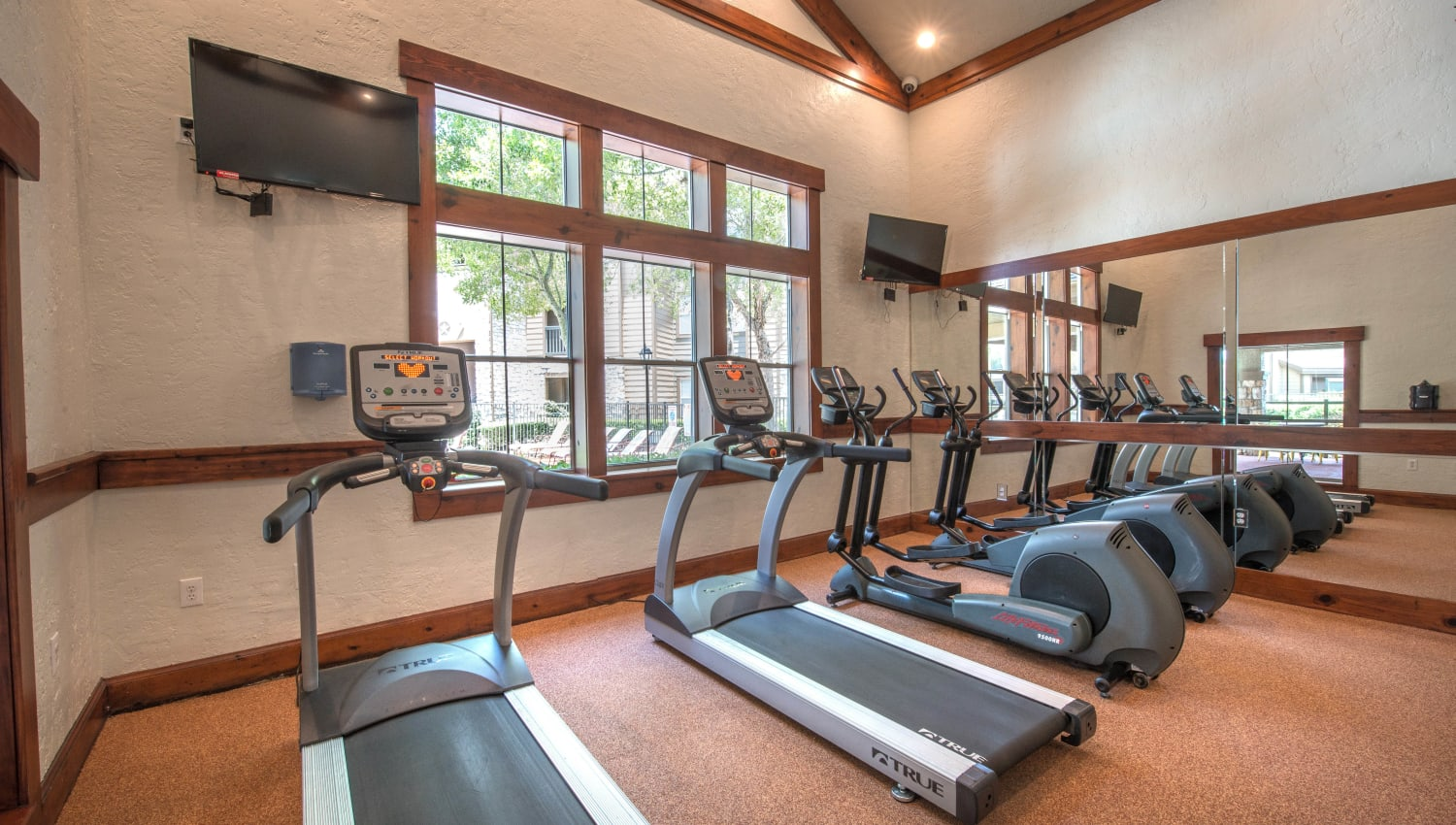 Treadmills in the fitness center at The Ranch at Shadow Lake in Houston, Texas