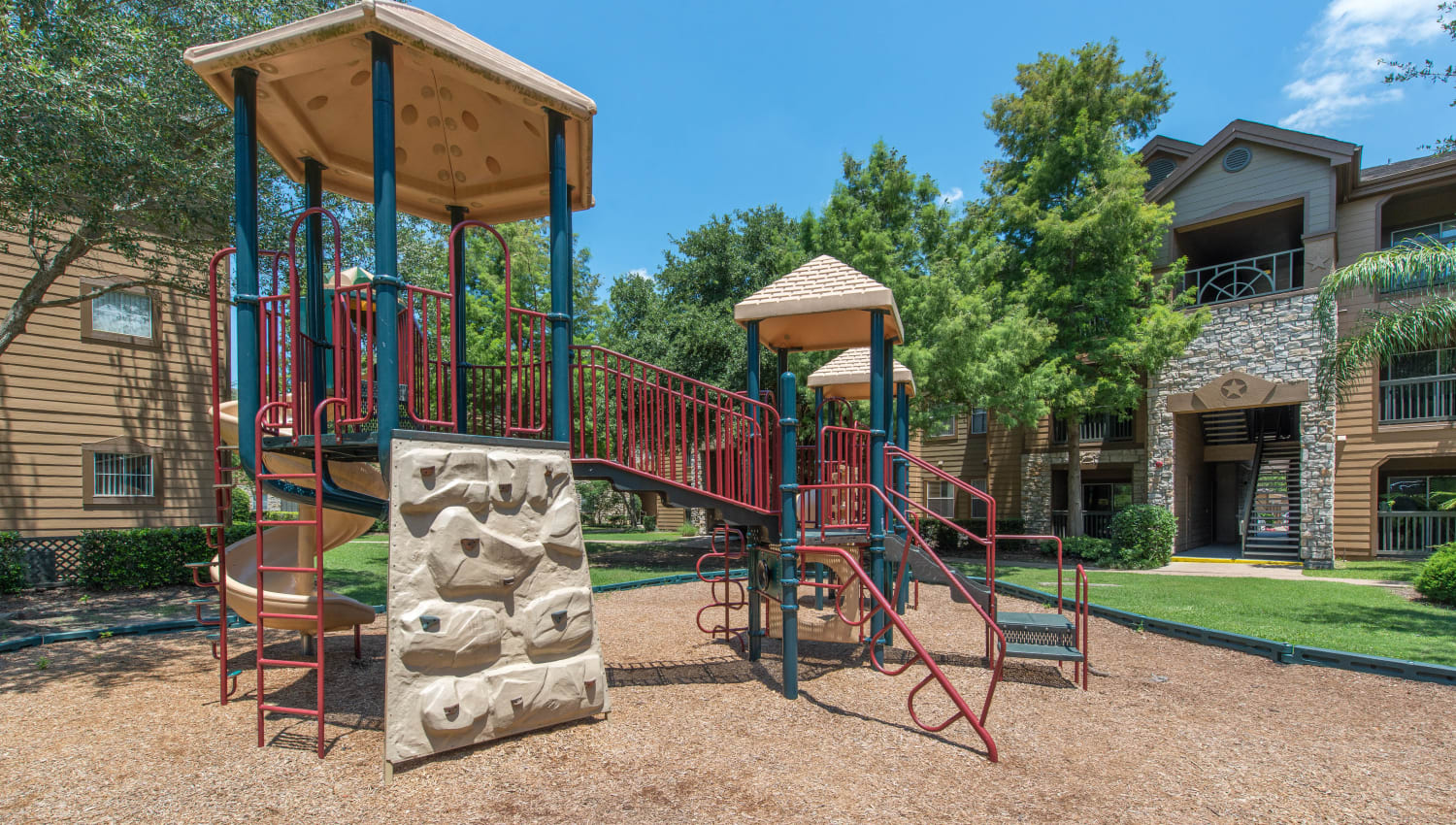 Resident children love the playground at The Ranch at Shadow Lake in Houston, Texas