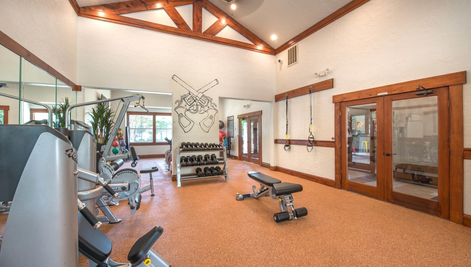 Free weights and more in the onsite fitness center at The Ranch at Shadow Lake in Houston, Texas