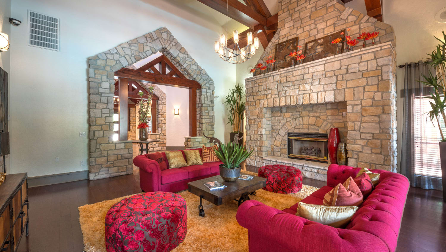 Luxurious resident clubhouse lounge at The Ranch at Shadow Lake in Houston, Texas