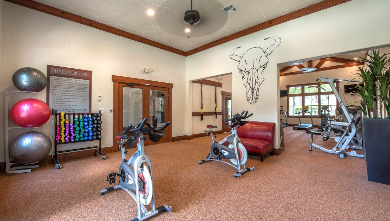 Exercise balls and bikes in the fitness center at The Ranch at Shadow Lake in Houston, Texas