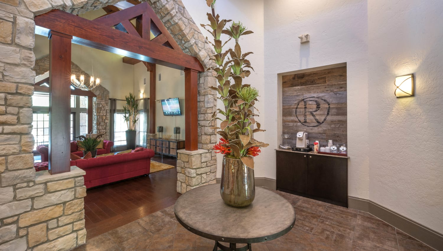 Bright and welcoming lobby interior at The Ranch at Shadow Lake in Houston, Texas