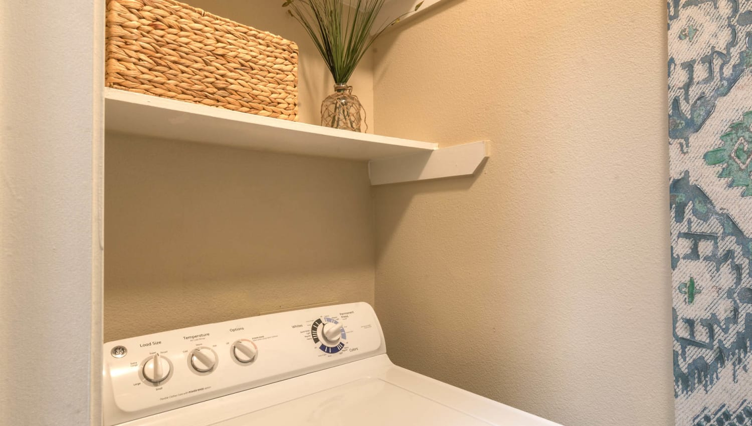 In-unit washer and dryer in a model apartment at The Ranch at Shadow Lake in Houston, Texas